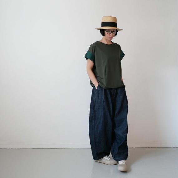 dahl'ia | ダリア | 異素材ショートスリーブ カット Tシャツ|GREEN