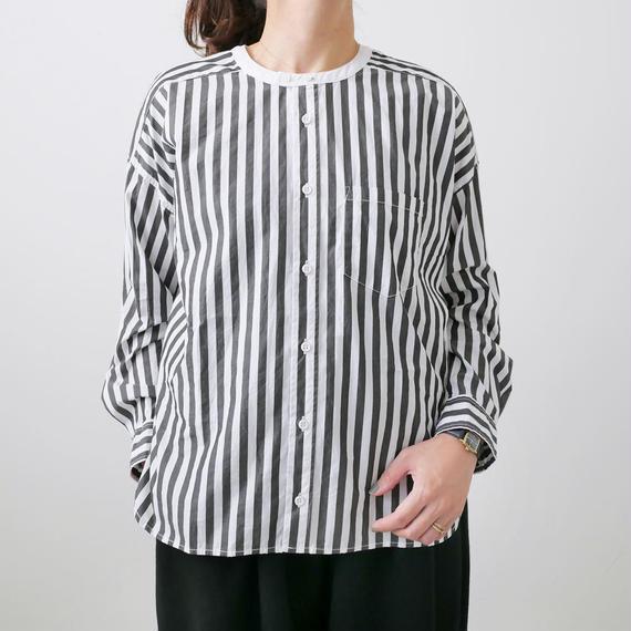 UNIVERSAL TISSU ユニヴァーサルティシュ|バーバーストライプ ワーキングシャツ|UT182SH015 |BLACK
