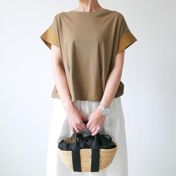 dahl'ia | ダリア | 異素材ショートスリーブ カット Tシャツ|BROWN