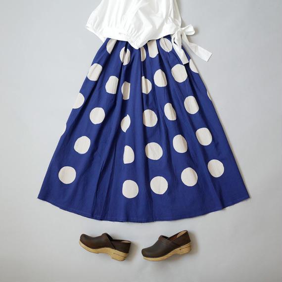 THE FACTORY  ザ・ファクトリー  バティック Big Dot ギャザースカート BLUE TF18SS-0708