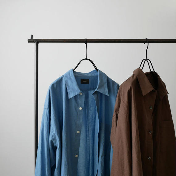 WIRROW  Cotton linen mens shirt サイズ1 BROWN NO.57165-118