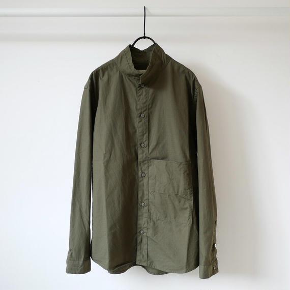 nisica|ニシカ |リップストップスタンドカラーシャツ |NIS-842|カーキ