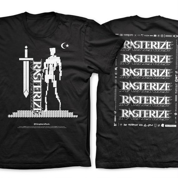 RASTERIZE  T-shirt(黒 x 白)