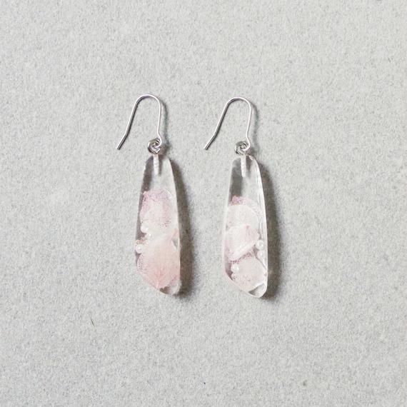 Flower Resin Earrings(pink&pearl)