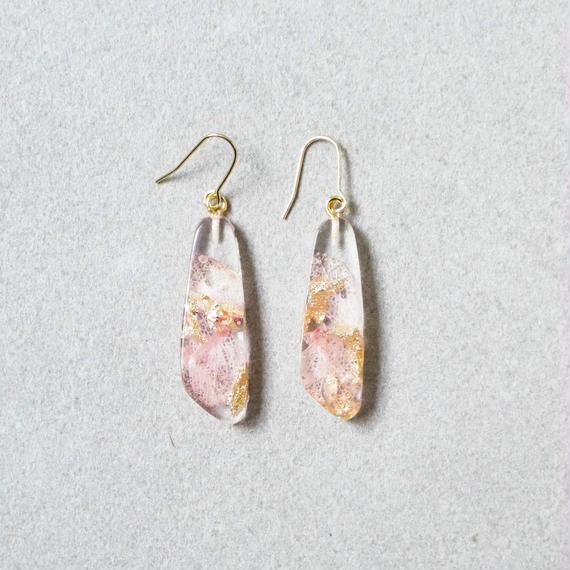 Flower Resin Earrings(pink&gold)