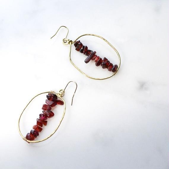 Big-hoop  Gemstone Earrings (Garnet)