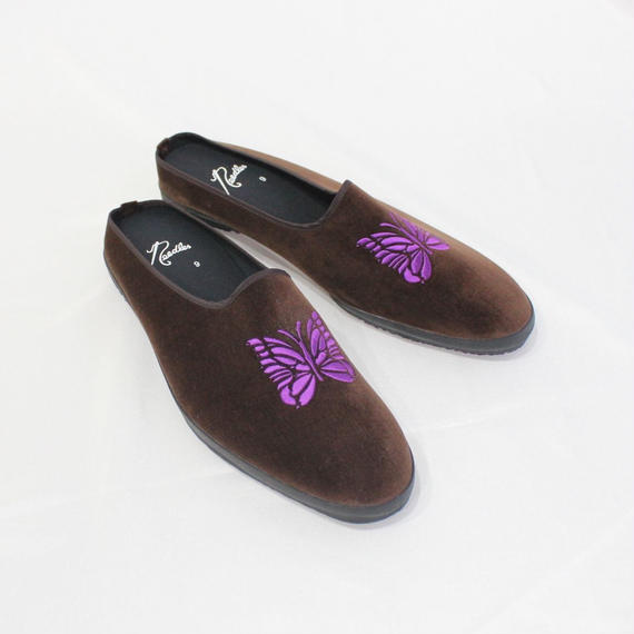 NEEDLES -  Papillon Enb Velvet Mule -Brown-