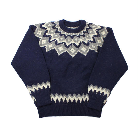 DEAD STOCK NORDIC SWEATER NAVY - onesize