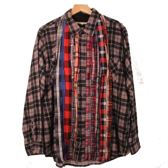 Rebuild By Needles (リビルドバイニードルズ) Ribbon Flannel Shirt BLACK - size M -