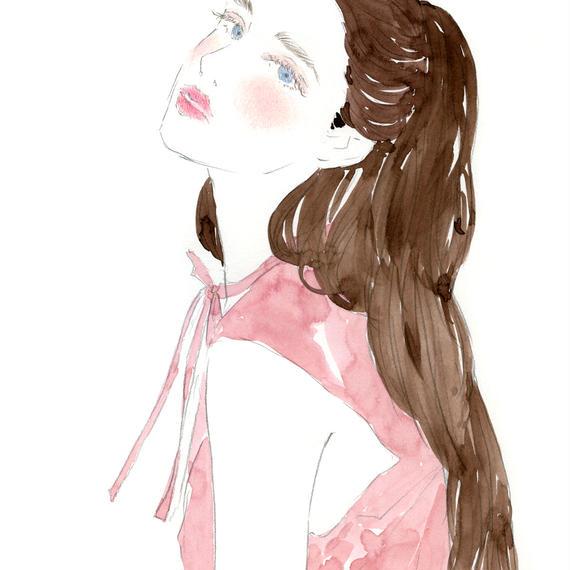 PONYTAIL GIRL FINE ART PRINT A4(NO FRAME)