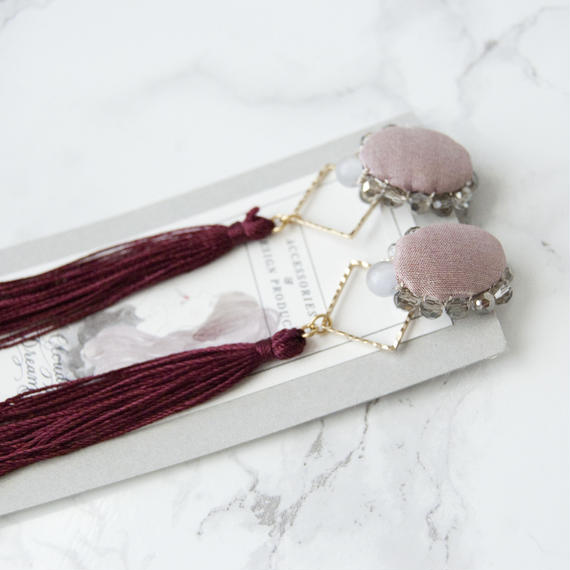 Flowing Planet Earrings - PINK OVAL+GRAPE RED / EARRINGS