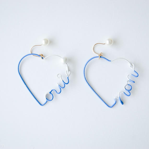 Arty Wire Pierced Earrings  - oui non heart PIERCE  / LAVENDER BLUE