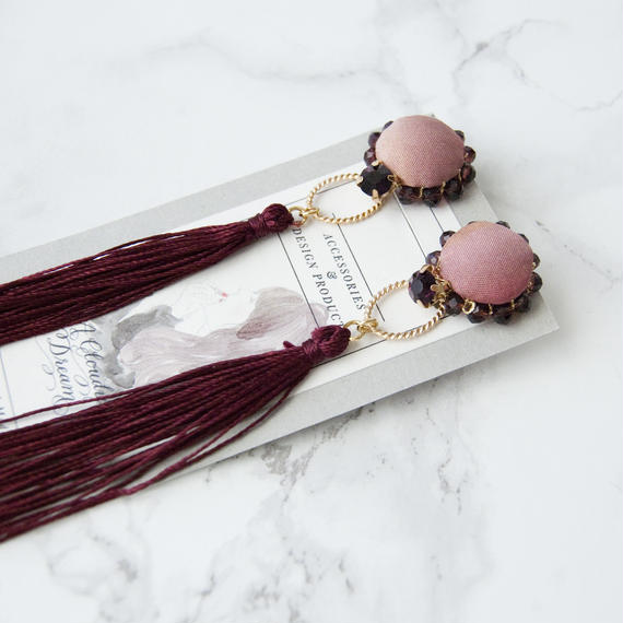 Flowing Planet Earrings - CIRCLE GRAPE RED / EARRINGS