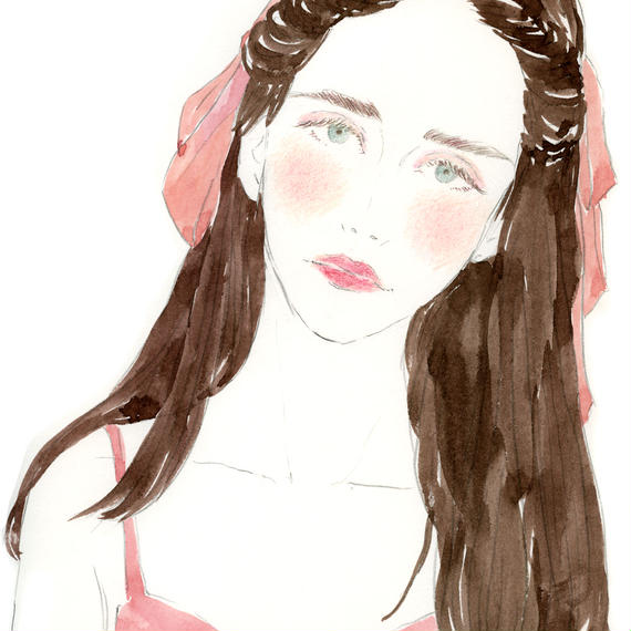 PINK RIBBON & PINK TOPS GIRL  /  FINE ART PRINT A4(NO FRAME)