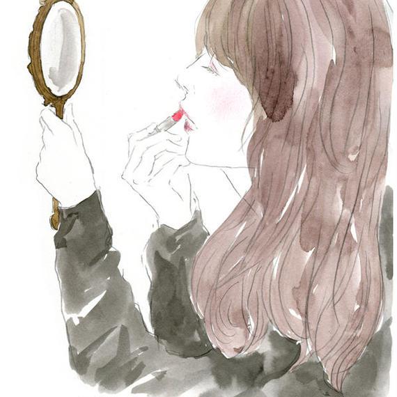 A GIRL WITH LIPSTICK  /  FINE ART PRINT A4(NO FRAME)