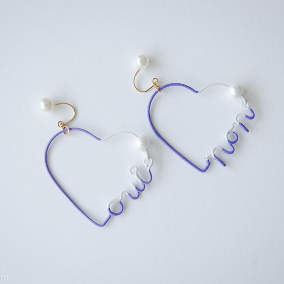 Arty Wire Pierced Earrings  - oui non heart PIERCE  / VIOLET