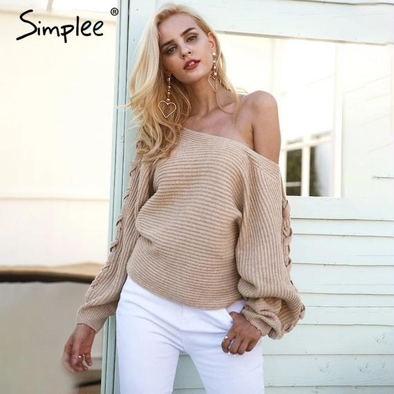 Dolman Sleeve Knitted Pullover