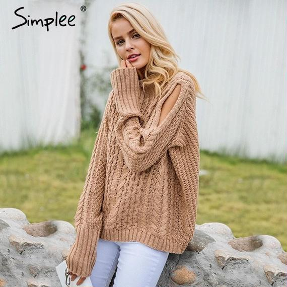 Open Shoulder Knitting Pullover