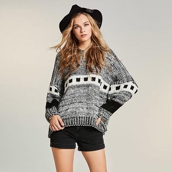O Neck Geometric Sweater