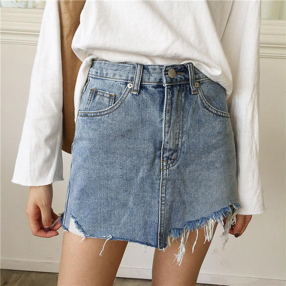 Asymmetry Denim Skirts