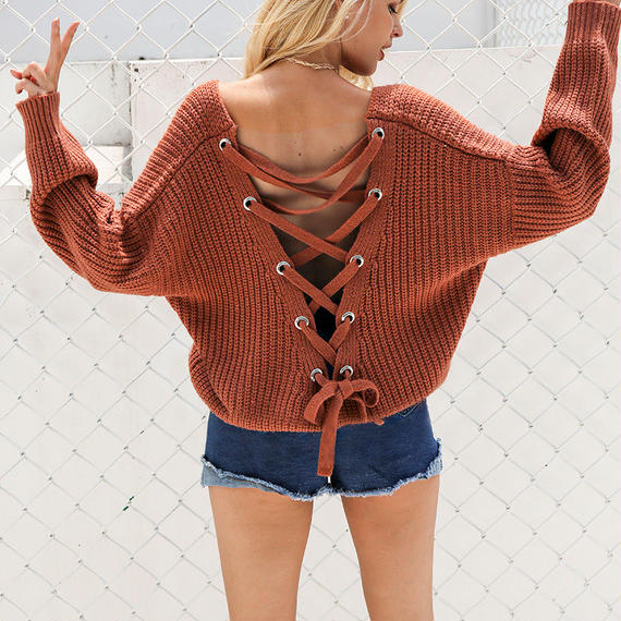 Lace Up Knitting  Pullover