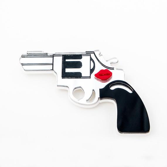 Hand gun Brooch