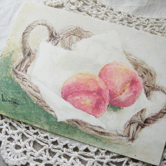 postcard / テーブルの上の桃