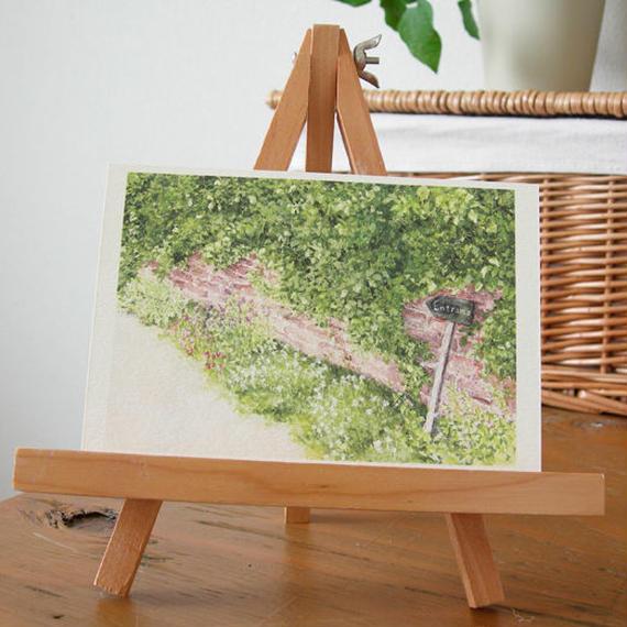 postcard / レンガの壁と標識