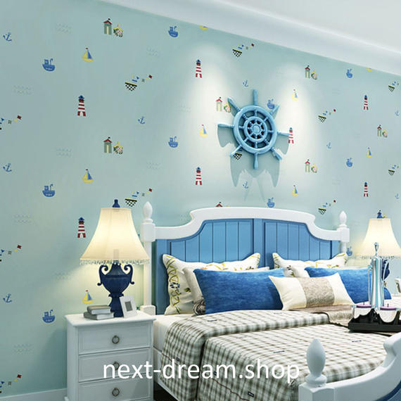 3D 壁紙 53×1000㎝ 子供部屋 船 海 マリン DIY 不織布 カビ対策 防湿 防水 吸音 インテリア 寝室 リビング h02038