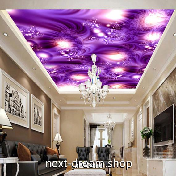3D 壁紙 1ピース 1㎡ ムーディ パープル アート 天井用 インテリア 装飾 寝室 リビング 耐水 防湿 h02667