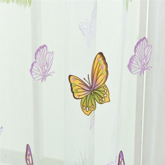 希少 デザイン かわいい カラフル 蝶柄 アメリカスタイルジャカード 寝室 リビングルーム レース W100cm-H200cm 00436
