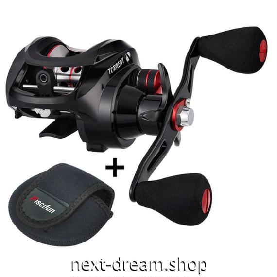 新品 ベイトリール 釣り道具 お洒落 フィッシング 7.1: 1 ギア比 磁気ブレーキ 黒×赤 右ハンドル 左ハンドル m01929