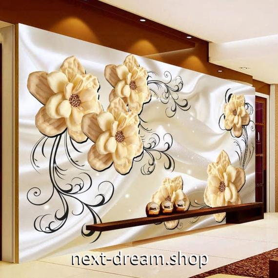 3D 壁紙 1ピース 1㎡ 立体アート 花 シルク背景 DIY リフォーム インテリア 部屋 寝室 防湿 防音 h03217