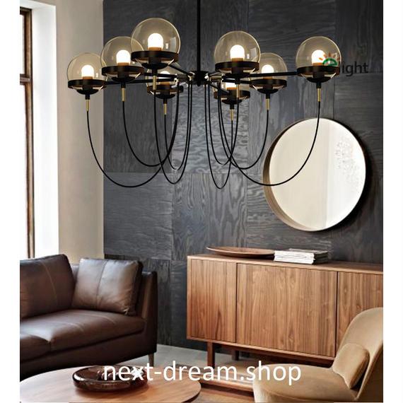 ペンダントライト 照明 LED ボール型 照明×8 シャンデリア ダイニング リビング キッチン 寝室 アメリカンレトロ h01533