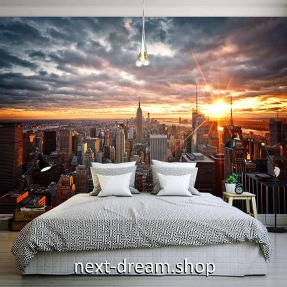 3D 壁紙 1ピース 1㎡ シティ風景 NY 夕暮れ時 DIY リフォーム インテリア 部屋 寝室 防湿 防音 h03337