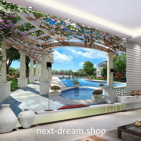 3D 壁紙 1ピース 1㎡ 自然風景 プール 空 パレス 花 インテリア 装飾 寝室 リビング h02152