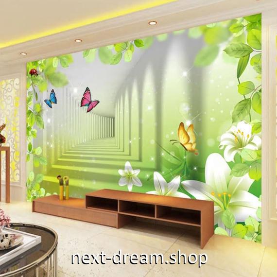 3D 壁紙 1ピース 1㎡ 立体空間 植物 てんとうむし DIY リフォーム インテリア 部屋 寝室 防湿 防音 h03210
