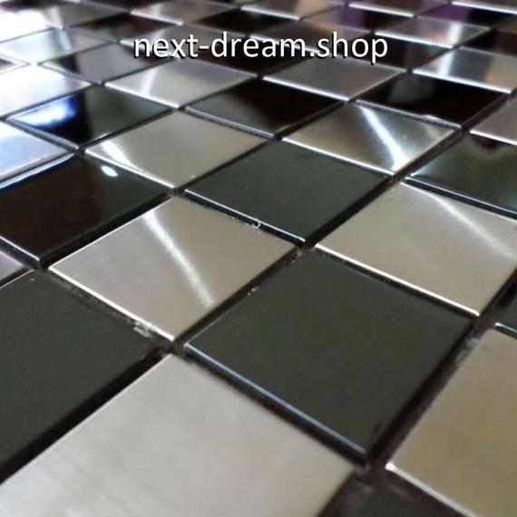 3D壁紙 30×30cm 11枚セット タイル 銀 チェスボード風 DIY リフォーム インテリア 部屋/キッチン/トイレにも h04381