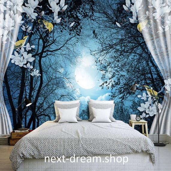 3D 壁紙 1ピース 1㎡ 自然風景 夜景 森 カーテン 月 インテリア 装飾 寝室 リビング h02173