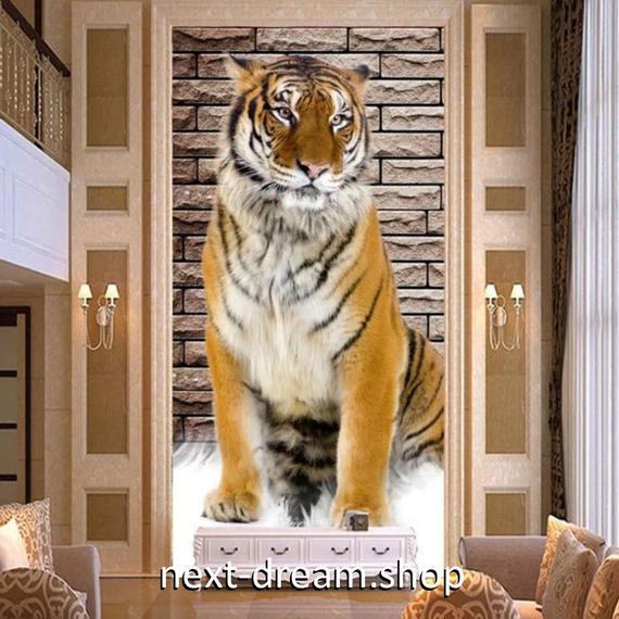 3D 壁紙 玄関用 1ピース 1㎡ 動物フォト とら タイガー レンガ インテリア 装飾 部屋 耐水 防湿 耐衝撃 騒音吸収 h02730