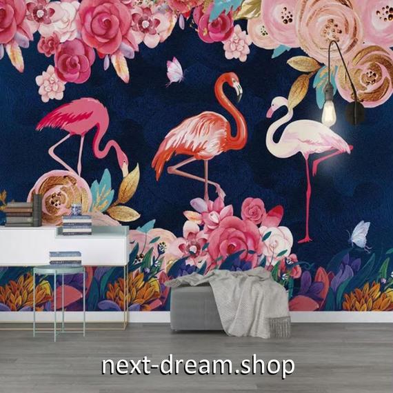 3D 壁紙 1ピース 1㎡ 絵画 フラミンゴ 薔薇 DIY リフォーム インテリア 部屋 寝室 防湿 防音 h03216
