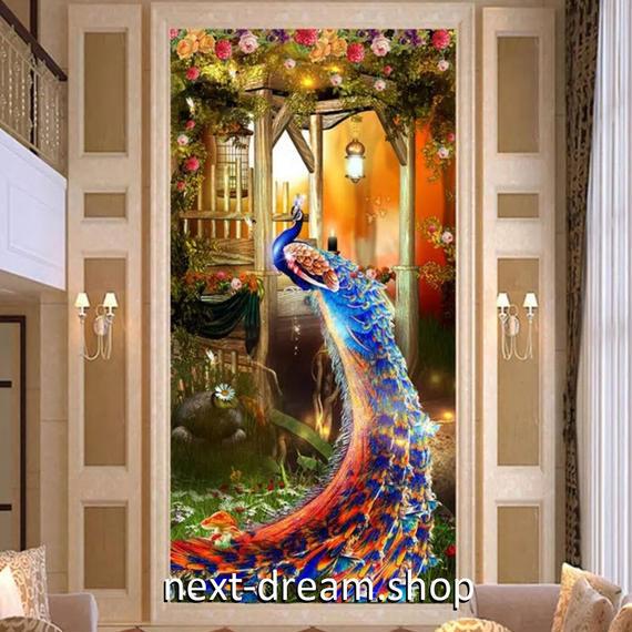 3D 壁紙 玄関用 1ピース 1㎡ 薔薇 孔雀 ピーコック インテリア 装飾 部屋 耐水 防湿 耐衝撃 騒音吸収 h02743