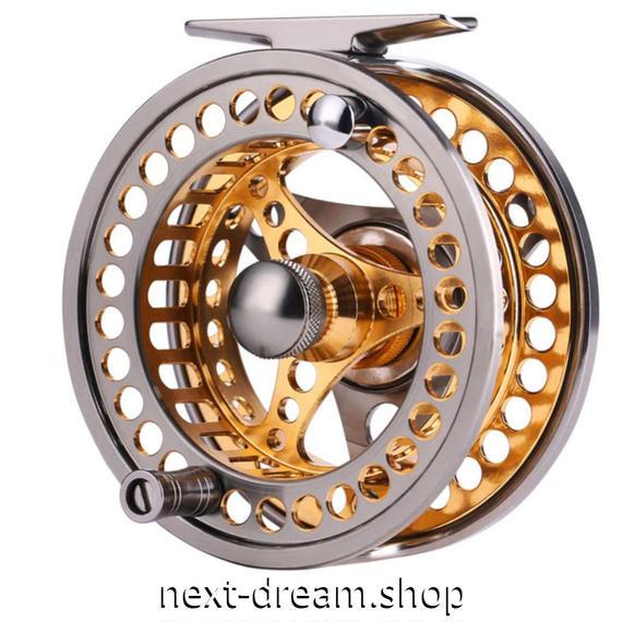 新品 フライリール 釣り道具 お洒落 フィッシング スプール ドラグ  シルバー×ゴールド 5/6 ダイカスト m01986