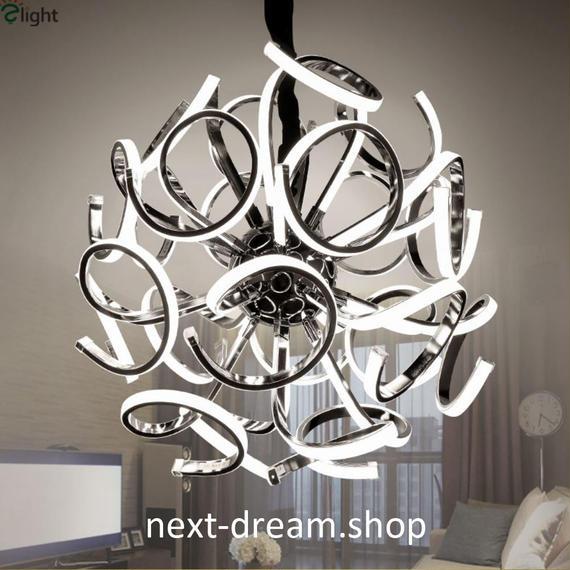 ペンダントライト 照明×18 LED シルバーボディ 球状 調光可能 ダイニング リビング キッチン 寝室 北欧モダン h01608