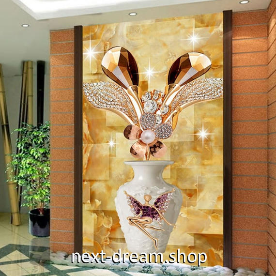 3D 壁紙 玄関用 1ピース 1㎡ 立体花瓶 キラキラ 宝石 インテリア 装飾 部屋 耐水 防湿 耐衝撃 騒音吸収 h02745