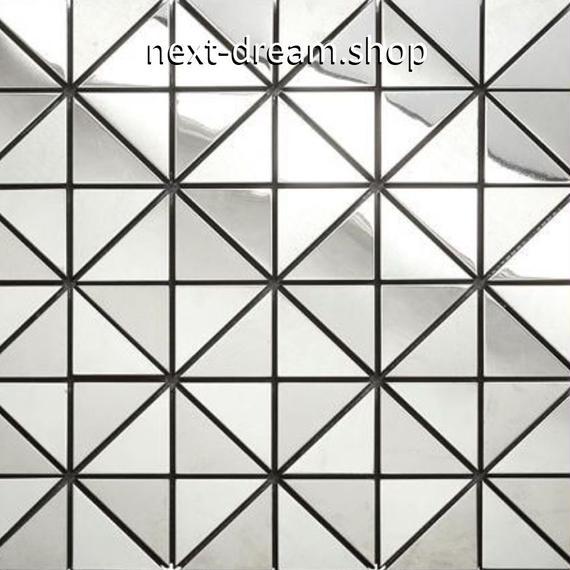 3D壁紙 30×30cm 11枚セット 三角 タイル 銀 ステンレス DIY リフォーム インテリア 部屋/キッチン/トイレにも h04380