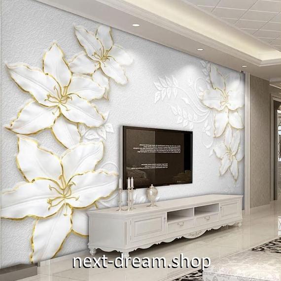 3D 壁紙 1ピース 1㎡ モダン 白い花 モクレン DIY リフォーム インテリア 部屋 寝室 防湿 防音 h03253