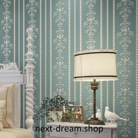 3D 壁紙 53×1000㎝ 花柄 ダマスク DIY 不織布 カビ対策 防湿 防水 吸音 インテリア 寝室 リビング h02031