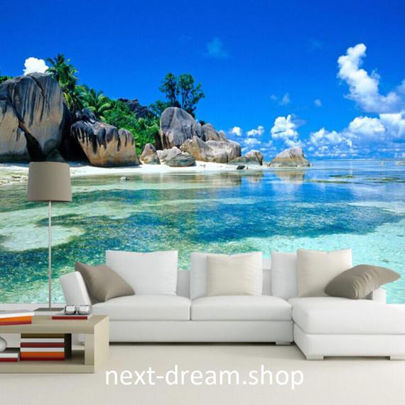 3D 壁紙 1ピース 1㎡ 自然風景 海 ビーチ 島 海外景色 おしゃれクロス インテリア 装飾 寝室 リビング h02151