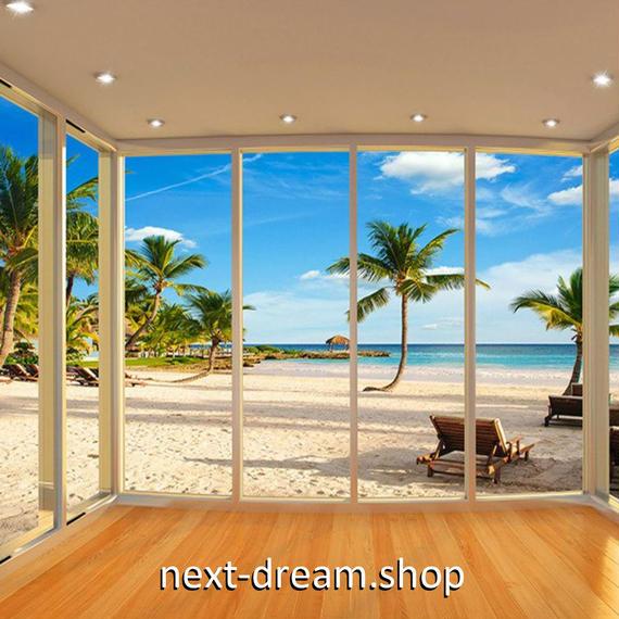 3D 壁紙 玄関用 1ピース 1㎡ 窓からの景色 ビーチ ヤシの木 インテリア 装飾 部屋 耐水 防湿 耐衝撃 騒音吸収 h02733